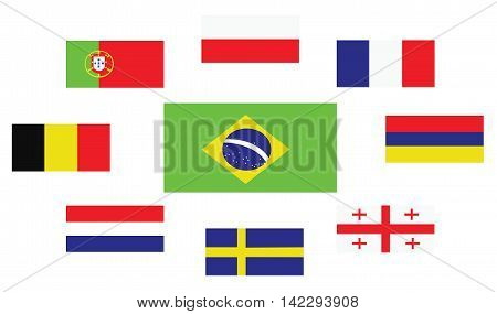 Set of country flags Brasil Portugal Belgium Sweden France Georgia Netherlands Poland and Armenia. Digital vector image