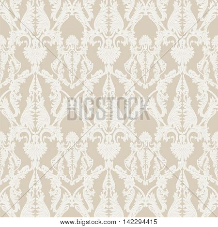 Vintage Rococo ornament pattern. Vector damask decor. Royal Victorian texture for textile fabric. Cream color