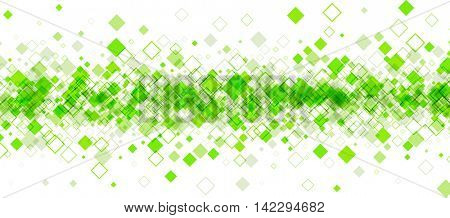 White banner with green rhombs. Vector paper illustration.