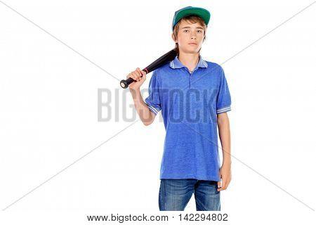 Portrait of a boy teenager holding baseball bat. Isolated over white background.