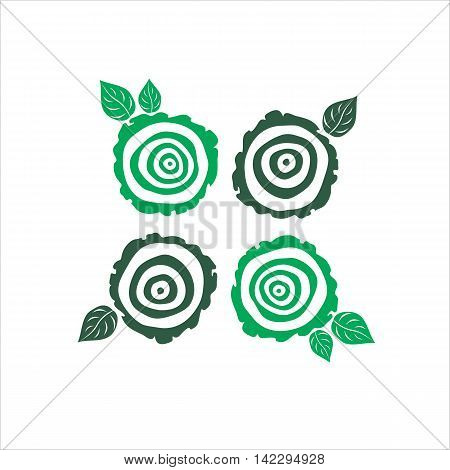 vector growth rings tree trunk symbols. slice of tree trunk
