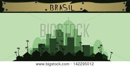 Brasil design with silhouette of rio de janeiro city. Digital vector image
