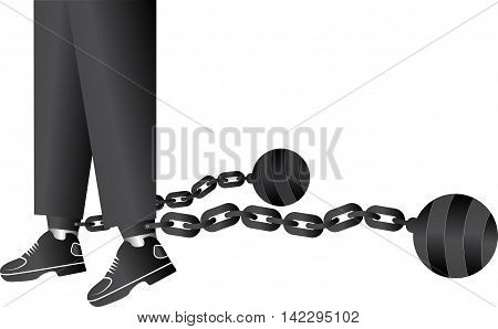 Illustration art of a ball and chain restraining with isolated background