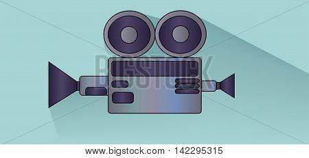 Retro cinema camera design over white blue background flat style. Digital image vector