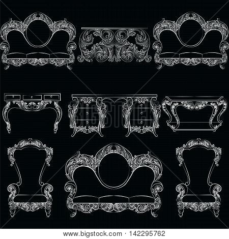 Vector collection of Baroque style armchairs furniture. Big Vector set of Antique Royal furniture. different rich detailed ornamented elements