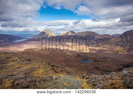 The mountains of Glamaig and River Sligachan on a beautiful spring day with clouds and blue sky - Isle of Skye, Scotland, UK