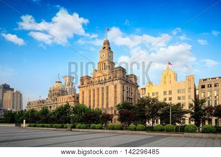 Shanghai Bund historical buildings in the morning Shanghai China