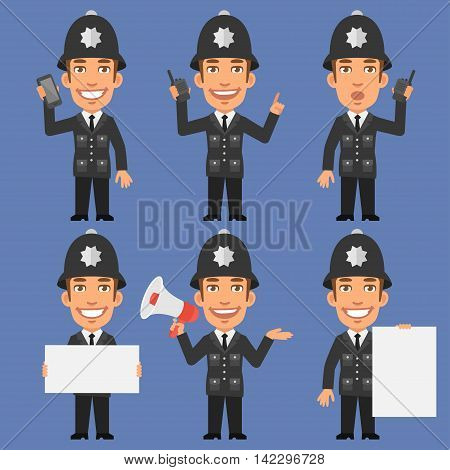 Vector Illustration, English Policeman Holding Phone Megaphone Paper, Format EPS 8