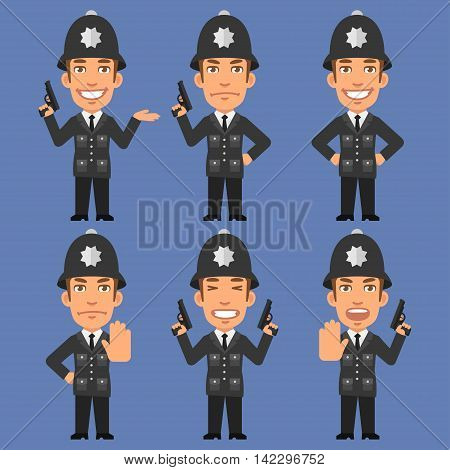 Vector Illustration, English Policeman Holds Weapons, Format EPS 8