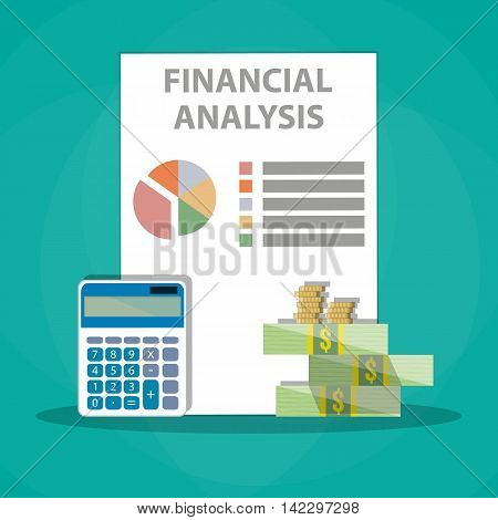 Financial calculations. Working process. calculator, financial reports, money, coins. vector illustration in flat design on green background