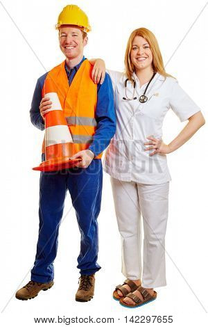 Blue collar worker and a doctor smiling as a team