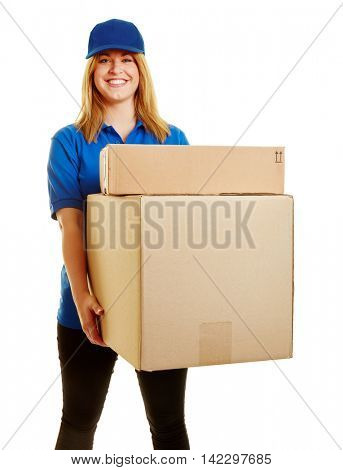Woman as a parcel carrier with packages to deliver