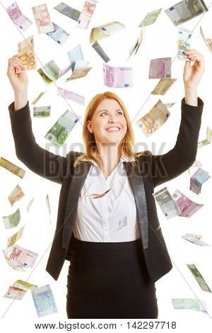Woman content of the rain made of euros