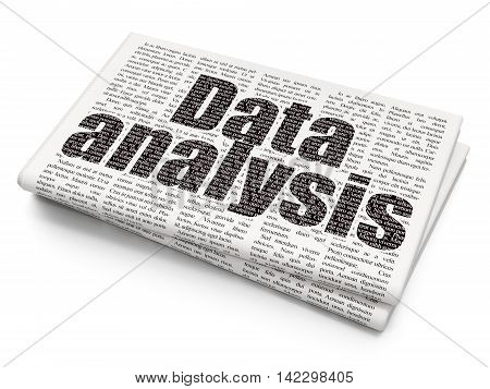 Information concept: Pixelated black text Data Analysis on Newspaper background, 3D rendering