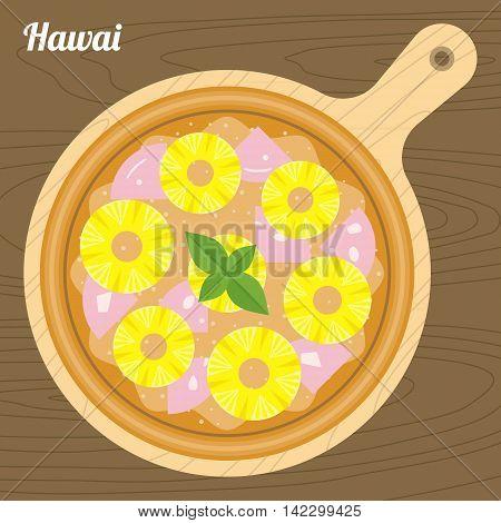 Vector Hawai pizza, flat design on wood background