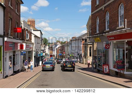 ROSS-ON-WYE, HEREFORDSHIRE, UK-JULY 18TH  2016: Beautiful summer  weather was enjoyed by visitors to the busy market town of Ross-on-Wye, England on Monday 18th July 2016