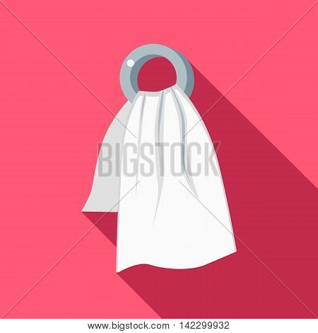 Spa towel icon in flat style isolated with long shadow