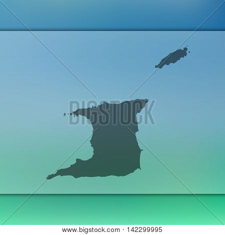 Trinidad and Tobago map on blurred background. Trinidad and Tobago. Trinidad and Tobago silhouette. Trinidad and Tobago vector map. Trinidad and Tobago flag. Blur background. Vector map. Travel.