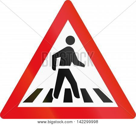 Road Sign Used In The African Country Of Botswana - Pedestrian Crossing Ahead