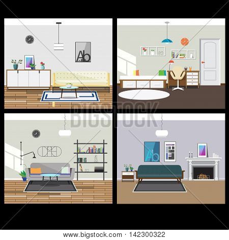 Collection Of Four Interiors