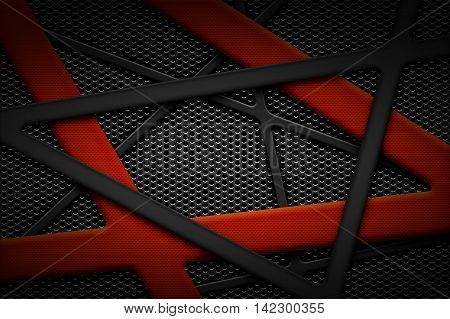 gray and red carbon fiber frame on black grille background. metal background and texture. 3d illustration material design.