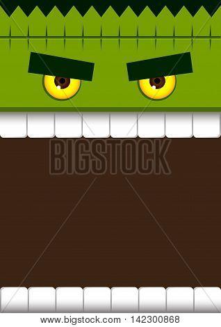 Vector stock of frankenstein monster face for halloween poster background