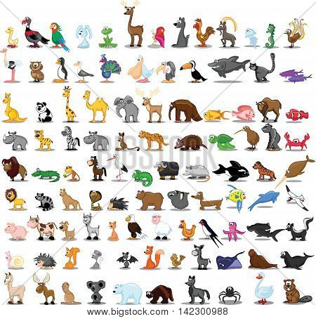 Super big set of different animals, vector illustration