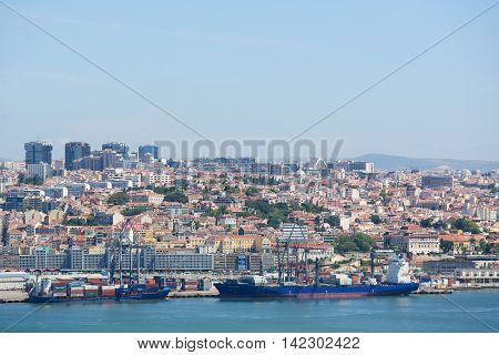 Port Of Lisbon And Tagus River In Portugal