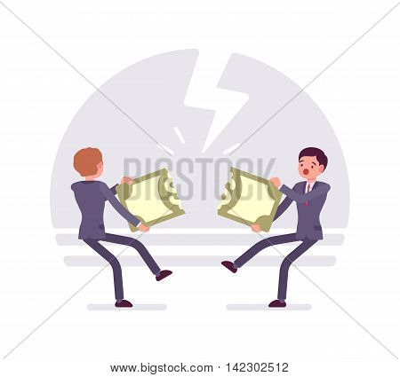 Two businessmen are pulling the papernote to each other and tearing it. Thunder background, characters are about to fall down. Cartoon vector flat-style business concept illustration