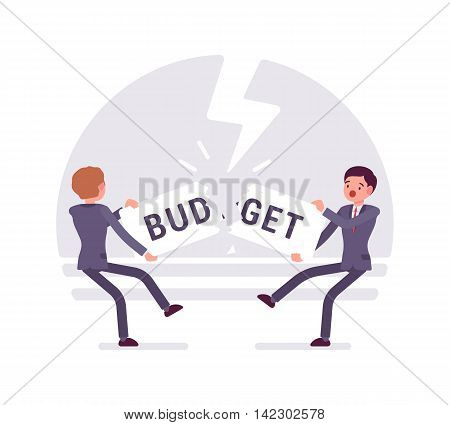 Two businessmen are pulling the word budget to each other and tearing it. Thunder background, characters are about to fall down. Cartoon vector flat-style business concept illustration