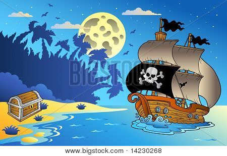 Night Seascape With Pirate Ship 1