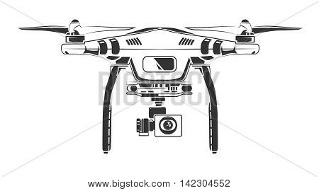 Vector monochrome picture of drone with spy camera. Picture front view. Illustration for labels, badges and logos design. Isolate on white background