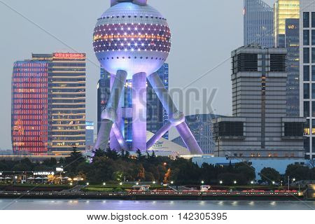 Shanghai, China: March 26, 2016: Detail Of The .oriental Pearl Tower Of Shanghai At Night