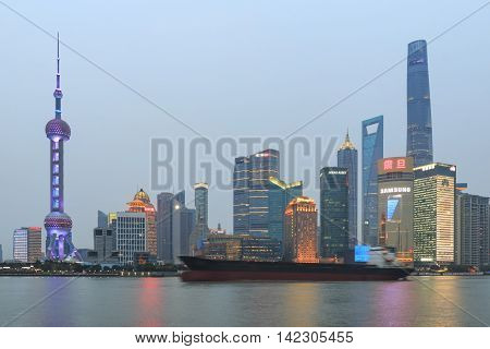 Shanghai, China: March 26, 2016: Day View Of The Bund, The Most Scenic Spot In Shanghai With The Mos