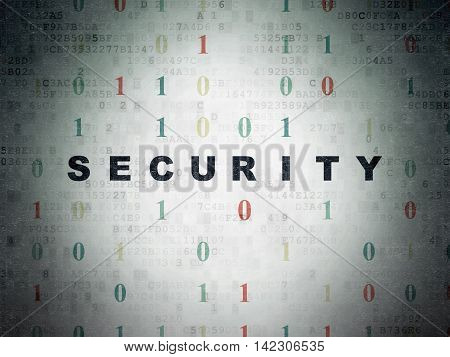 Security concept: Painted black text Security on Digital Data Paper background with Binary Code