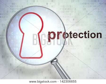 Protection concept: magnifying optical glass with Keyhole icon and Protection word on digital background, 3D rendering