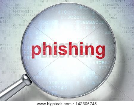 Security concept: magnifying optical glass with words Phishing on digital background, 3D rendering