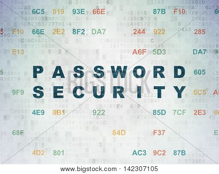 Protection concept: Painted blue text Password Security on Digital Data Paper background with Hexadecimal Code