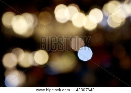 Lights blurred bokeh background from chrystal chandelier light