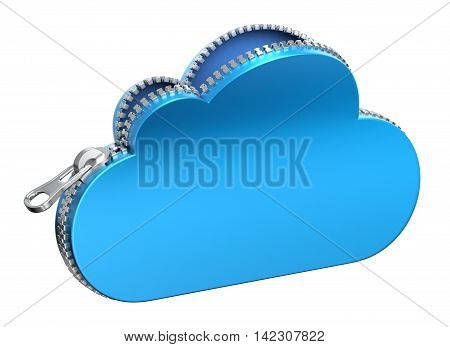 Unzipped 3d cloud icon isolated on white background - 3D illustration