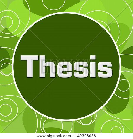 Thesis text written over green random rings circular background.