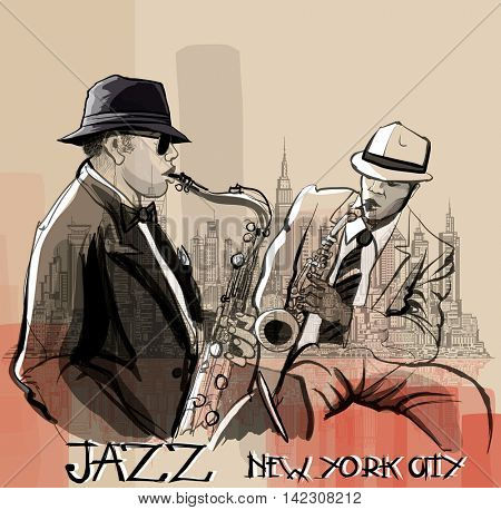 Two Jazz saxophonist playing in New York - vector illustration
