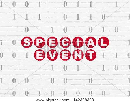 Finance concept: Painted red text Special Event on White Brick wall background with Binary Code