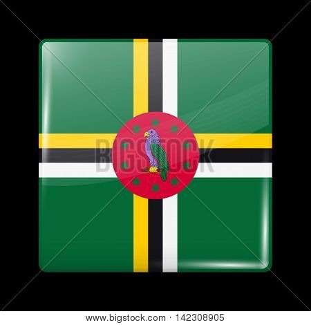 Flag Of Dominica. Glossy Icon Square Shape