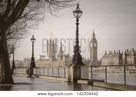 Early in the morning in central London with Big Ben and Houses of Parliament - vintage version - England, UK