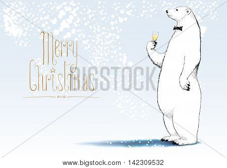 Merry Christmas vector greeting card. Polar bear hipster character drinking glass of champagne funny illustration. Design element with Merry Christmas sign hand drawn lettering