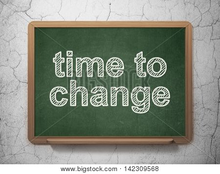 Time concept: text Time to Change on Green chalkboard on grunge wall background, 3D rendering