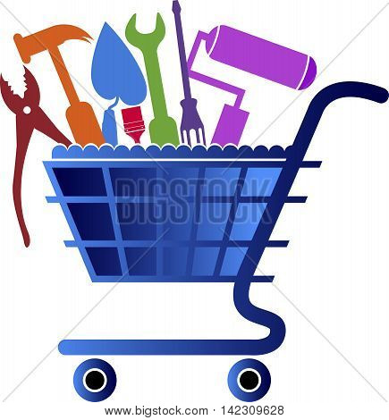 Illustration art of a purchase tools logo design with isolated background