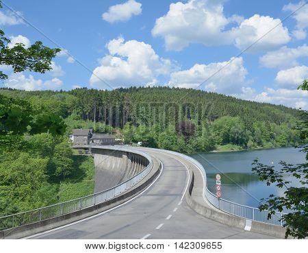 Dam of Agger Reservoir in Bergisches Land,North Rhine Westphalia,Germany
