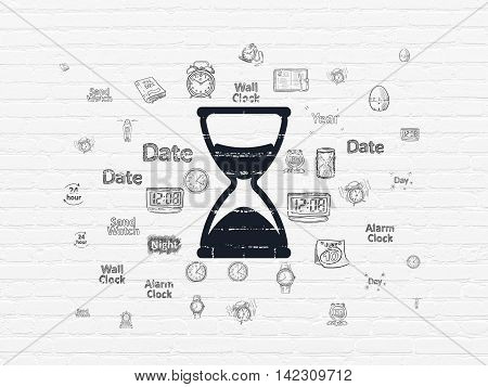 Timeline concept: Painted black Hourglass icon on White Brick wall background with  Hand Drawing Time Icons